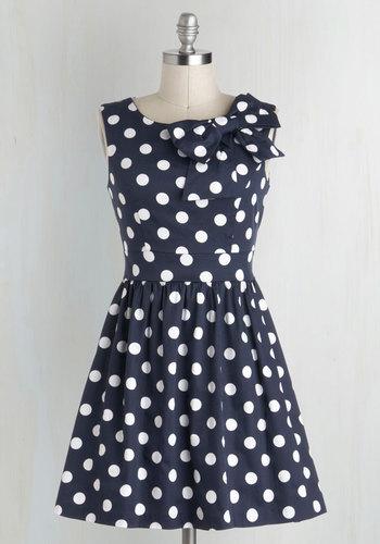 The Pennsylvania Polka A-Line Dress in Navy Dots