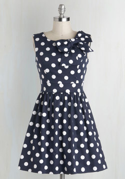 The Pennsylvania Polka Dress in Navy Dots