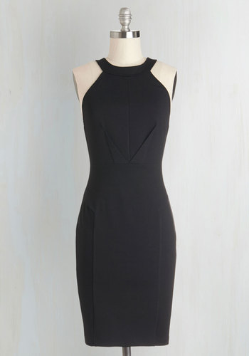 Anniversary Allure Dress in Noir - Sheer, Knit, Black, Solid, Backless, Lace, Girls Night Out, LBD, Sleeveless, Crew, Good, Mid-length, Sheath