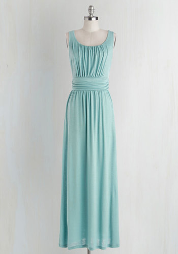 Near Mist Dress - Long, Jersey, Knit, Mint, Solid, Ruching, Casual, Maxi, Sleeveless, Better, Scoop, Beach/Resort, Pastel, Maternity