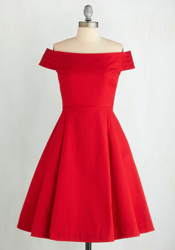 Kettle Corn Dress in Sunset by Emily and Fin - Red, Solid, Pleats, Strapless, Party, 50s, Long, Cotton, Press Placement, Cocktail, Holiday Party, Off the Shoulder, Vintage Inspired, Fit & Flare, International Designer, Prom, Wedding, Bridesmaid, Valentine's, Homecoming
