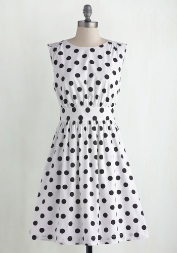 Too Much Fun Dress in White Dots by Emily and Fin - Exclusives, Basic, White, Black, Polka Dots, Pockets, Casual, Sleeveless, Better, Scoop, Variation, Cotton, Woven, Sundress, Maternity, Summer, Top Rated, Press Placement, Mid-length, Fit & Flare