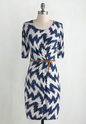 Dilly Tally Dress - Blue, White, Casual, Good, Scoop, Jersey, Sheer, Knit, Mid-length, Print, Belted, Work, Sheath, 3/4 Sleeve