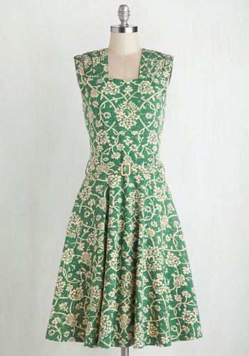 Delight Me Dress by Effie's Heart - Green, Tan / Cream, Floral, Belted, Daytime Party, Sleeveless, Better, Knit, Pockets, Full-Size Run, Work, Fall, Long, Vintage Inspired, 60s, Scholastic/Collegiate, Fit & Flare