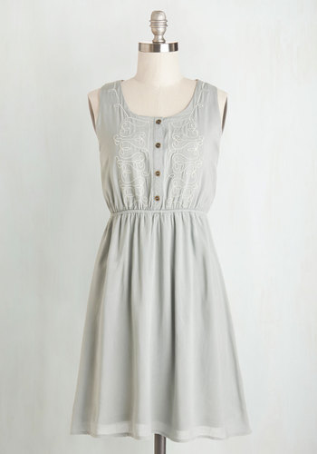 Make It or Bake It Dress - Woven, Mid-length, Grey, Solid, Buttons, Embroidery, Casual, Sundress, A-line, Tank top (2 thick straps), Good, Scoop