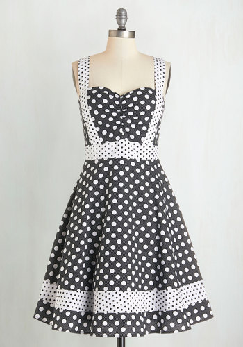Bea and Dot Patterns at Play Dress by Bea & Dot - Black, White, Polka Dots, Fit & Flare, Sleeveless, Better, Sweetheart, Vintage Inspired, 50s, Exclusives, Private Label, Daytime Party, Sundress, Summer, Full-Size Run, Mid-length