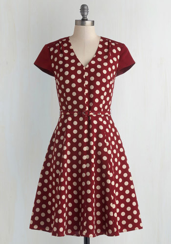 Give It All You Dot Dress by Myrtlewood - Private Label, Woven, Red, White, Polka Dots, Pockets, Belted, Casual, Cap Sleeves, Better, V Neck, Exclusives, Work, Full-Size Run, Mid-length, Vintage Inspired, 50s, Scholastic/Collegiate, Fit & Flare