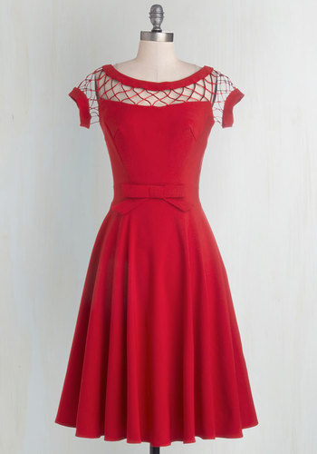 With Only a Wink Dress in Ruby - Red, Solid, Bows, Cutout, Wedding, Party, Cocktail, Bridesmaid, Pinup, Vintage Inspired, 50s, A-line, Fit & Flare, Cap Sleeves, Variation, Better, Sheer, Knit, 40s, Boat, Valentine's, Short Sleeves, Prom, Long