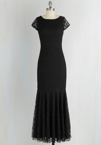 Velvet Rope Ready Dress in Noir - Black, Solid, Special Occasion, Cap Sleeves, Better, Scoop, Woven, Lace, Sheer, Prom, Homecoming, Long