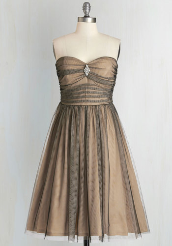 Midnight Mambo Dress in Shadow - Black, Rhinestones, Prom, Party, Fit & Flare, Better, Sweetheart, Solid, Tan / Cream, Special Occasion, Strapless, Long, Tulle, Vintage Inspired, 50s, 60s, Variation, Cocktail, Full-Size Run, Holiday Party, Tan
