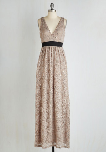 Next Taupe Model Dress - Tan, Solid, Lace, Sequins, Special Occasion, Maxi, Sleeveless, Lace, Better, V Neck, Knit, Full-Size Run, Prom, Homecoming