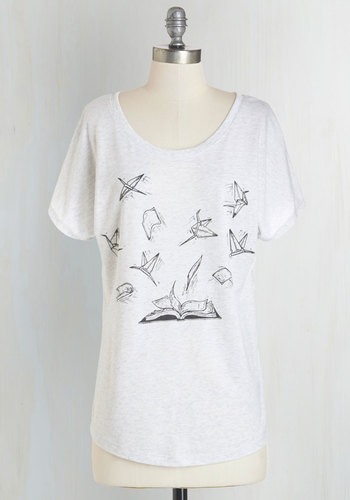On the Wings of Words Tee - White, Short Sleeve, Knit, Grey, Novelty Print, Casual, Nifty Nerd, Short Sleeves, Scoop, Top Rated