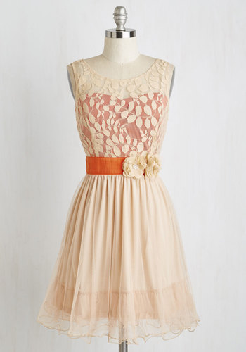 Home Sweet Scone Dress in Apricot by Ryu - Orange, Solid, Flower, Party, Tank top (2 thick straps), Mid-length, Lace, Prom, Wedding, Bridesmaid, Woven, Tan / Cream, Homecoming, Fit & Flare