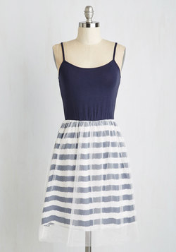 Pliés and Thank You Dress in Navy Stripes
