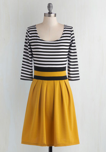 Literary Luncheon Dress in Honey - Mid-length, Black, White, Stripes, Pleats, Casual, A-line, 3/4 Sleeve, Good, Scoop, Fall, Nautical, Yellow, Scholastic/Collegiate, Top Rated