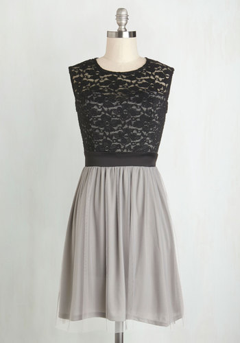 Wish Upon the Stars Dress - Lace, Party, A-line, Better, Scoop, Mid-length, Woven, Sheer, Black, Grey, Sleeveless, Gifts Sale