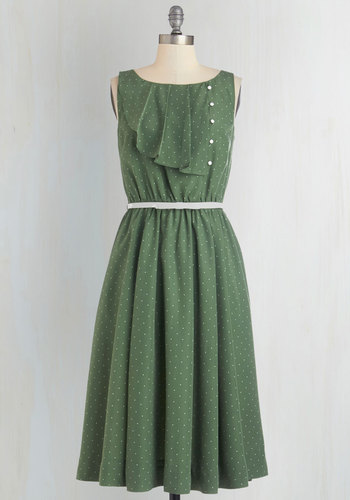Very Sage Advice Dress by Myrtlewood - Woven, Green, White, Polka Dots, Buttons, Belted, Work, Casual, A-line, Sleeveless, Better, Pockets, Exclusives, Private Label, Social Placements, Full-Size Run, Long