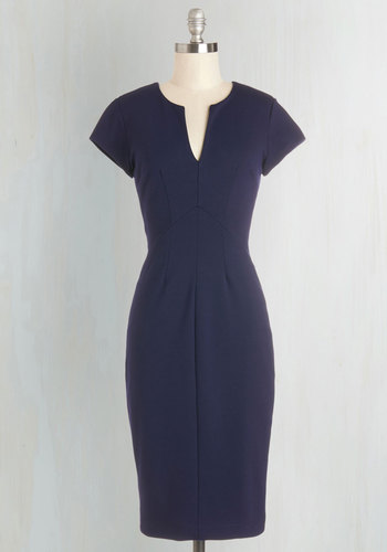 Enterprising Entrepreneur Dress in Navy - Blue, Solid, Cap Sleeves, Better, V Neck, Knit, Work, Long, Pinup, Vintage Inspired, Bodycon / Bandage