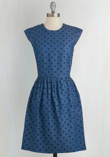 Engaging Entrance Dress - Blue, Black, Polka Dots, Casual, A-line, Cap Sleeves, Woven, Better, Americana, Crew, Cotton, Full-Size Run, Nautical, Vintage Inspired, Mid-length