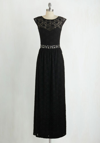 Rooftop Serenade Dress - Black, Beads, Lace, Rhinestones, Special Occasion, Prom, Homecoming, Maxi, Woven, Better, Scoop, Long, Solid, Sequins, Cap Sleeves, Full-Size Run