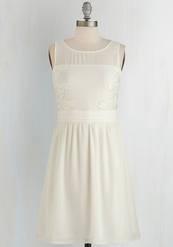 Simple Ceremony Dress - Cream, Solid, Daytime Party, A-line, Sleeveless, Woven, Scoop, Embroidery, Mid-length, Sheer, Wedding, Graduation, Bride, Spring