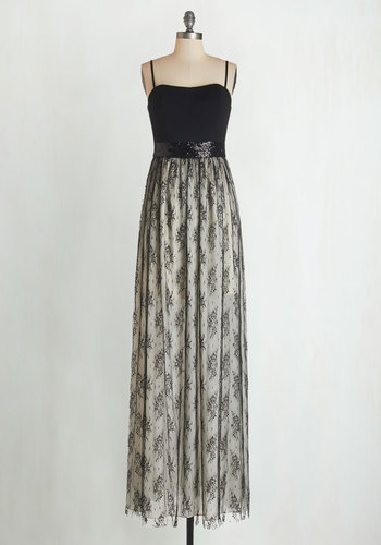 Academic Award Winner Dress - Tan / Cream, Black, Lace, Sequins, Special Occasion, Party, Maxi, Better, Sweetheart, Long, Knit, Lace, Spaghetti Straps, Homecoming, Prom