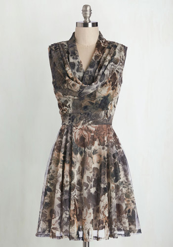 Down to a Wine Art Dress in Potpourri - Multi, Floral, Daytime Party, A-line, Sleeveless, Fall, Good, Cowl, Knit