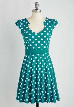 The Story of Citrus Dress in Teal Dot