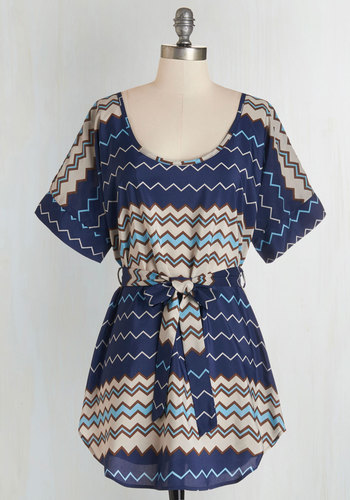 Medium Format Memory Tunic in Navy Zigzag - Blue, Belted, Casual, Short Sleeves, Scoop, Tan / Cream, Chevron, Blue, Short Sleeve, Press Placement, Best Seller, Maternity, Long, Fall, Good, 4th of July Sale, Gals