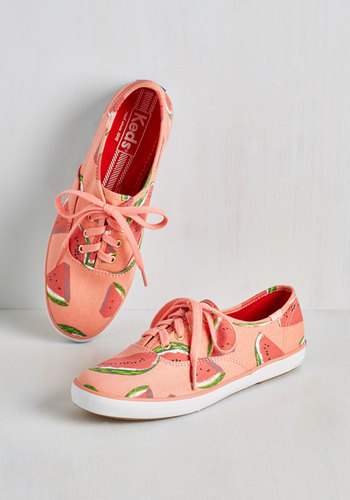 Fruits and Flatters Sneaker in Watermelon by Keds - Pink, Green, Novelty Print, Casual, Fruits, Quirky, Food, Better, Lace Up