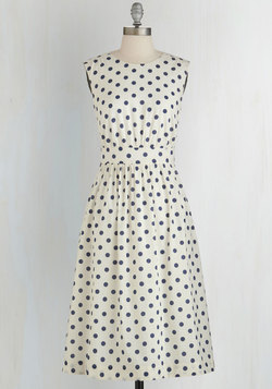 Too Much Fun Dress in White Dots - Long