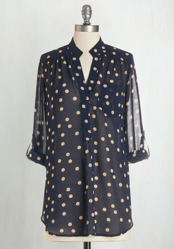Hosting for the Weekend Tunic in Sheer Navy - Blue, Tan / Cream, Polka Dots, Pockets, 3/4 Sleeve, Casual, Fall, Best Seller, Blue, Tab Sleeve, Woven, Sheer, Long, Maternity, Press Placement, Good, 4th of July Sale, Work, Americana, Top Rated