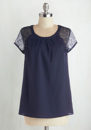 Bookish Look Top - Sheer, Woven, Mid-length, Blue, Solid, Lace, Short Sleeves, Good, Blue, Short Sleeve, Scoop, Lace