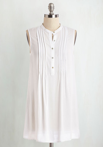 Vacay Adventure Tunic in White - White, Sleeveless, Long, Sheer, Woven, White, Solid, Casual, Beach/Resort, Sleeveless, Spring, Summer, Variation, Buttons