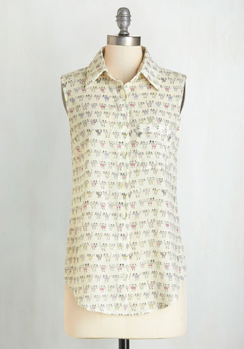 Coolest Clowder Top - Mid-length, Sheer, Woven, Cream, Print with Animals, Quirky, Cats, Sleeveless, Spring, Summer, Collared, White, Sleeveless, Buttons, Pockets