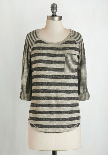 Valued Downtime Top in Grey - Knit, Grey, Stripes, Pockets, Casual, 3/4 Sleeve, Scoop, Grey, Tab Sleeve, Mid-length