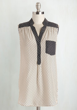 Girl About Scranton Tunic in Colorblock Dots