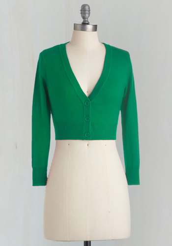 The Dream of the Crop Cardigan in Kelly Green - Basic, Green, Solid, Buttons, Long Sleeve, Work, Daytime Party, Cropped, Knit, Variation, Fall, Green, 3/4 Sleeve, Holiday Party, Short, Best Seller, Social Placements, Good, 4th of July Sale, Top Rated, Gifts2015