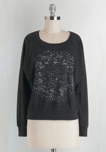Zodiac Zing Top - Black, White, Long Sleeve, Casual, Short, Novelty Print, Eco-Friendly, 90s, Black, Long Sleeve, Top Rated