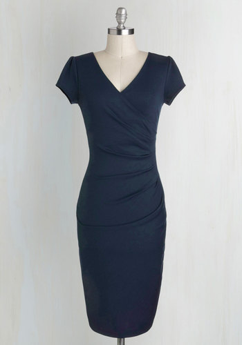 I Think I Can Dress in Navy - Blue, Solid, Ruching, Cap Sleeves, Good, V Neck, Knit, Work, Variation, Cocktail, Long, Pinup, Vintage Inspired, Bodycon / Bandage