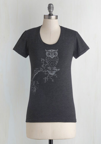 Out on a Whim Tee - Black, Print with Animals, Short Sleeves, Good, Mid-length, Jersey, Knit, Casual, Owls, Scoop, Halloween, Black, Short Sleeve, Critters, Woodland Creature