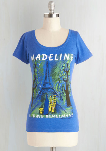 Novel Tee in Madeline by Out of Print - Blue, Short Sleeve, Knit, Mid-length, Blue, Novelty Print, Casual, Nifty Nerd, Short Sleeves, Variation, Scoop, Summer, Good, As You Wish Sale, Top Rated