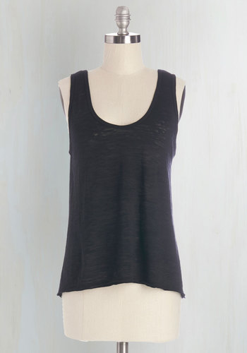 Basically Cool Top in Black - Black, Sleeveless, Mid-length, Knit, Black, Solid, Casual, Tank top (2 thick straps), Summer, Basic, Good, Lounge