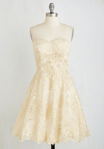 Goodnight, Swoon Dress by Chi Chi London - Wedding, Short, White, Gold, Embroidery, Strapless, Spaghetti Straps, Sweetheart, Solid, Special Occasion, Prom, Bride, Party, Homecoming, Fit & Flare, Holiday Party