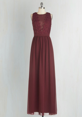 Elegance Again Maxi Dress - Long, Woven, Red, Solid, Special Occasion, Maxi, Sleeveless, Crochet, Sheer, Crew, Homecoming, Prom