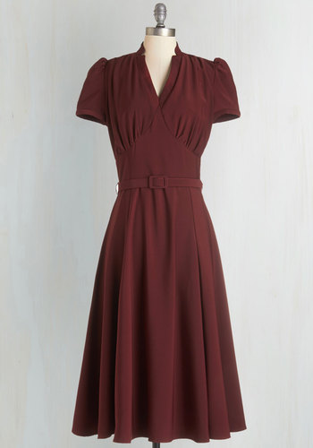 Radio Hour Dress in Wine - Solid, Party, 40s, Fit & Flare, Short Sleeves, Woven, Better, V Neck, Red, Belted, Work, Exclusives, Variation, Long, Pinup
