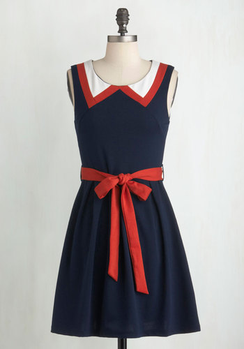 Red, White, and Cute Dress - Blue, A-line, Sleeveless, Belted, Cotton, Summer, Nautical, Red, Short