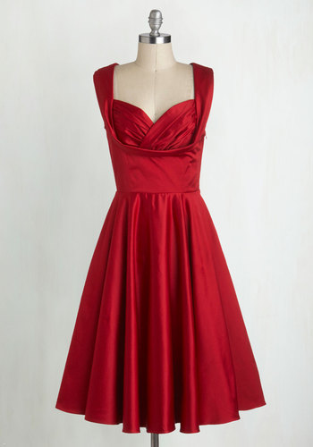 Aisle Be There Dress in Rose by Trashy Diva - Long, Red, Solid, Pleats, Ruching, Wedding, Party, Holiday Party, Vintage Inspired, 50s, Sleeveless, Sweetheart, Luxe, Special Occasion, Prom, Fit & Flare, Bridesmaid, Satin, Valentine's, Pockets, Pinup