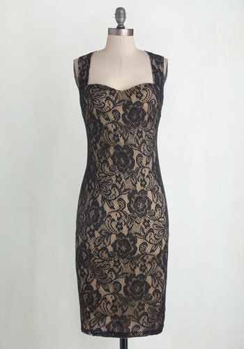 Sophisticated Soiree Dress in Noir - Long, Woven, Black, Tan / Cream, Cutout, Lace, Party, Bodycon / Bandage, Sleeveless, Good, Sweetheart, Cocktail, Film Noir, Valentine's, Lace, Girls Night Out