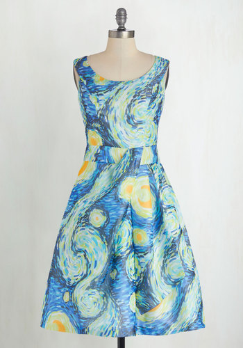 Down to a Fine Art Dress in Night - Blue, Yellow, Pockets, Sleeveless, Better, Scoop, Novelty Print, Exclusives, Daytime Party, Press Placement, Full-Size Run, Print, 50s, 60s, Nifty Nerd, Halloween, Long, Wedding, Vintage Inspired, Fit & Flare, Spring, Summer, Fall, Winter